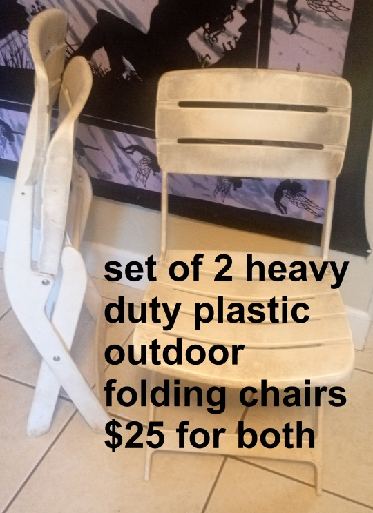 set of 2 heavy duty plastic outdoor folding chairs